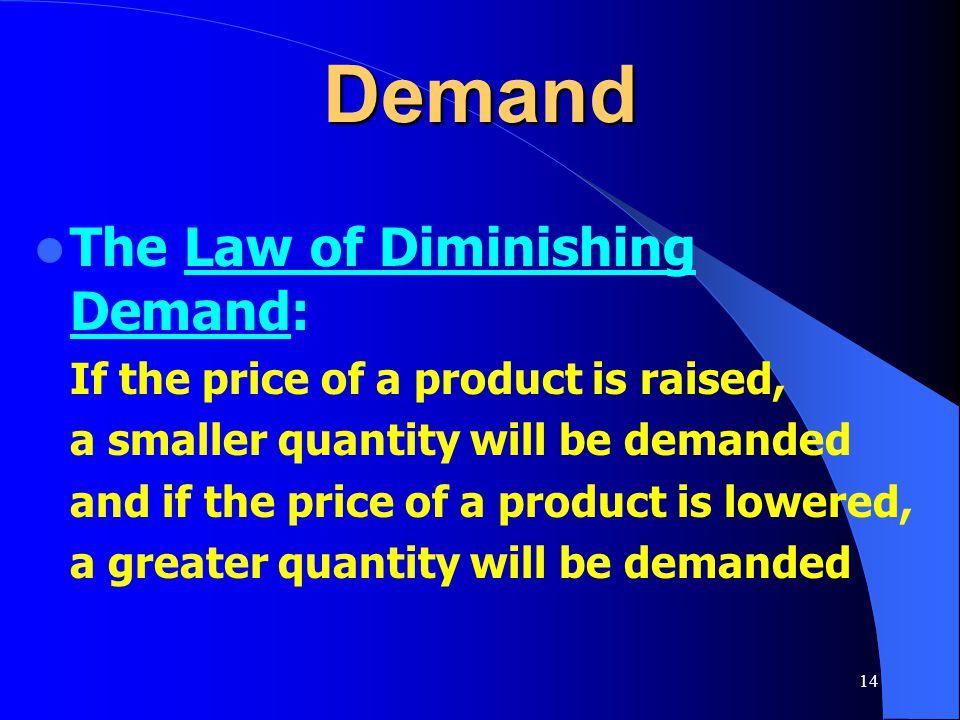 Demand The Law of Diminishing Demand:
