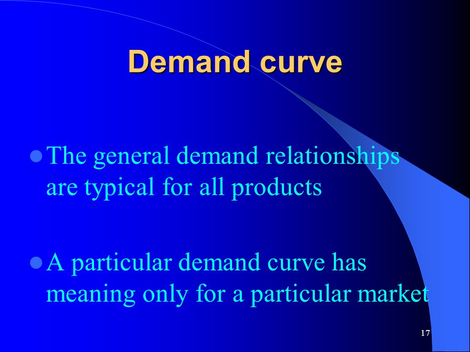 Demand curve The general demand relationships are typical for all products.