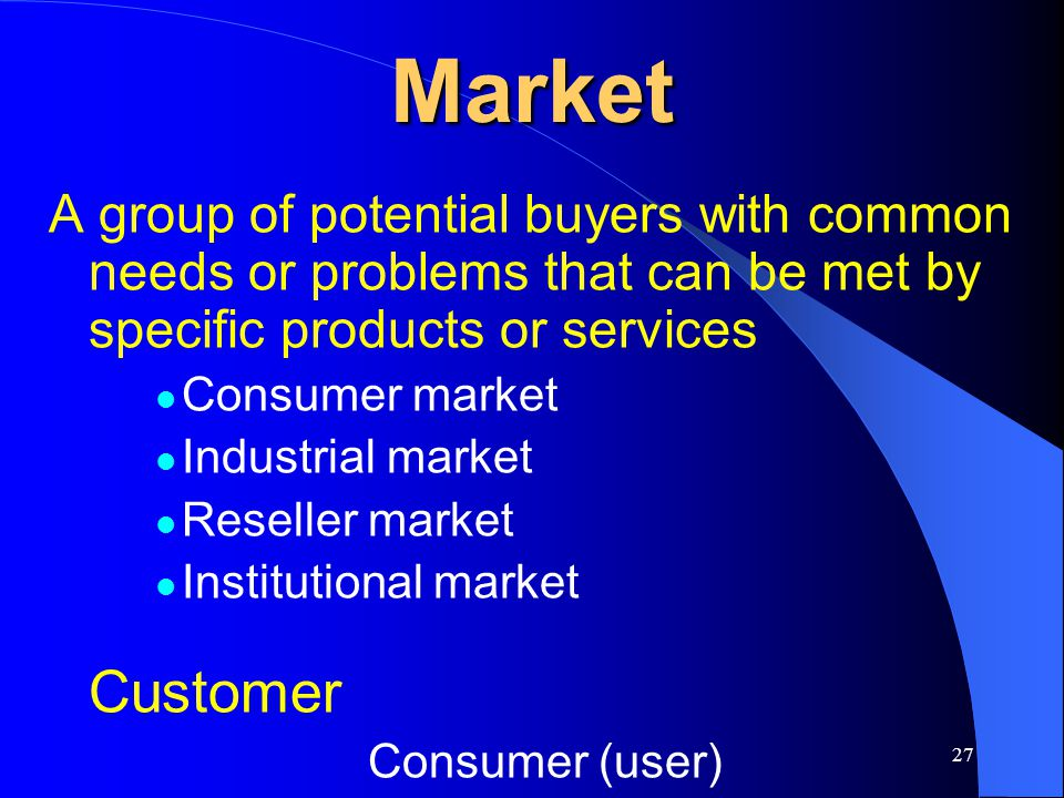 Market A group of potential buyers with common needs or problems that can be met by specific products or services.