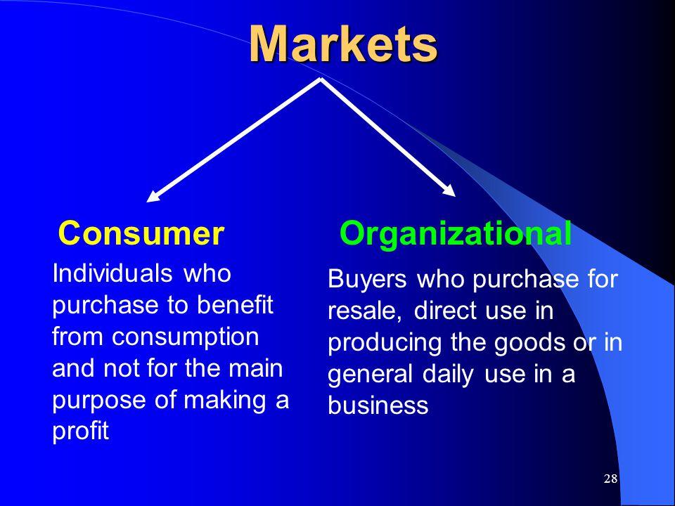 Markets Consumer Organizational
