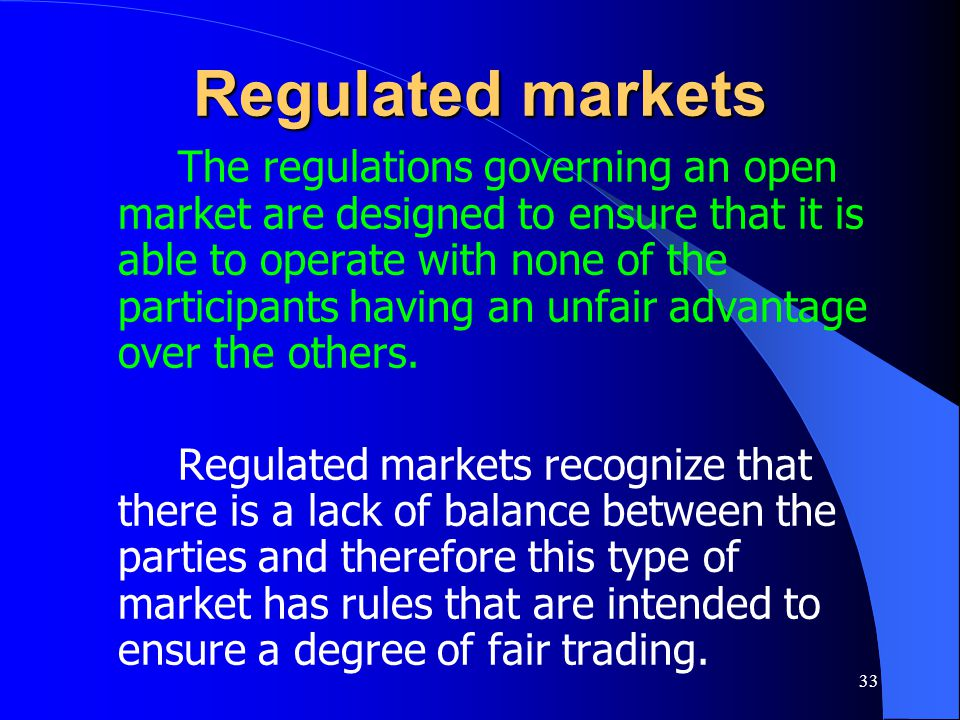 Regulated markets