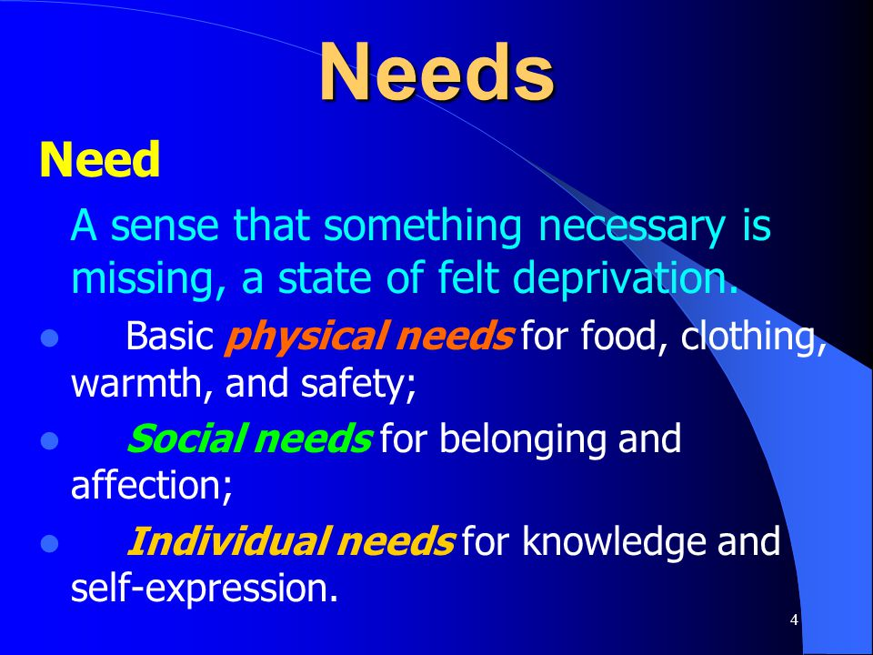 Needs Need. A sense that something necessary is missing, a state of felt deprivation. Basic physical needs for food, clothing, warmth, and safety;
