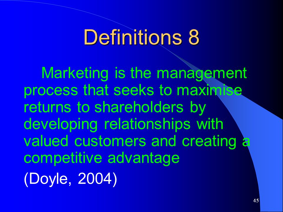doyles definition about marketing 14112010 direct marketing is a form of advertising in which companies provide physical marketing materials to consumers to communicate information about a product.