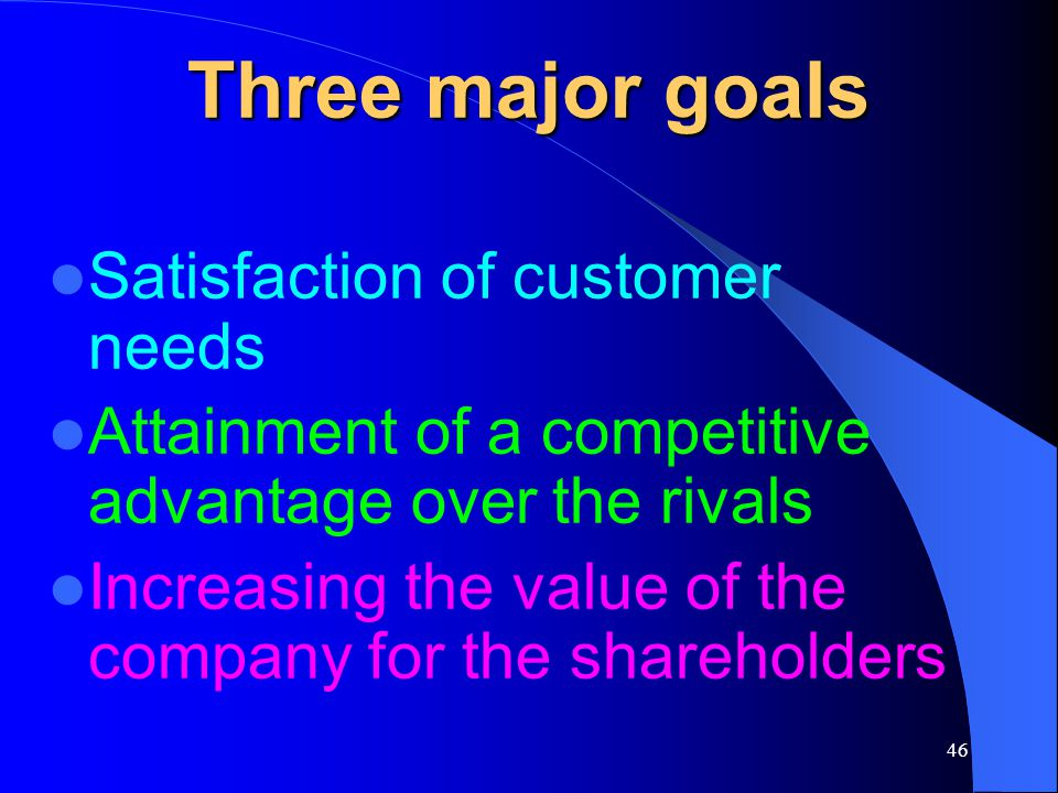 Three major goals Satisfaction of customer needs