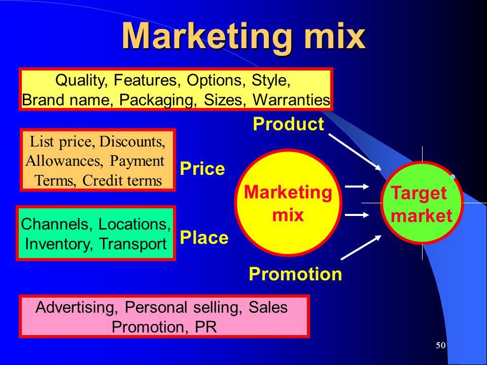 Marketing mix Product Price Marketing mix Target market Place