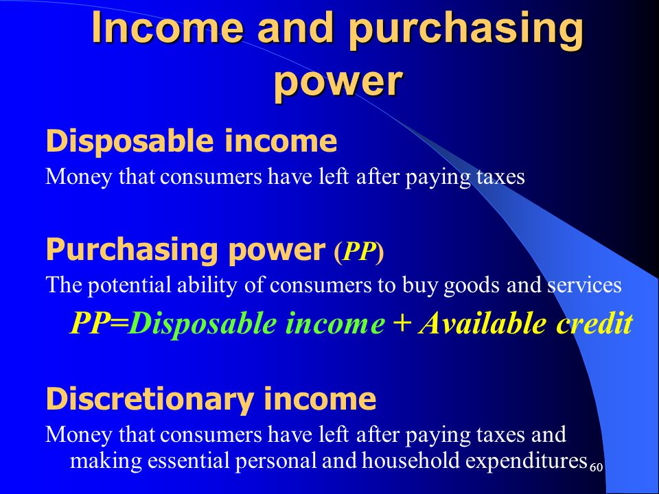 Income and purchasing power