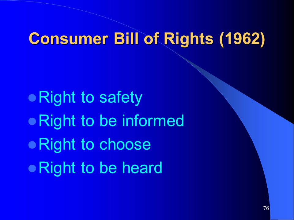 Consumer Bill of Rights (1962)