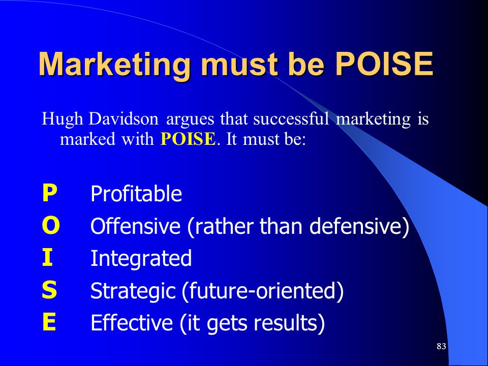 Marketing must be POISE