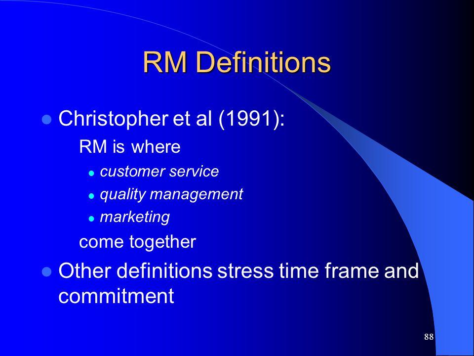 RM Definitions Christopher et al (1991):