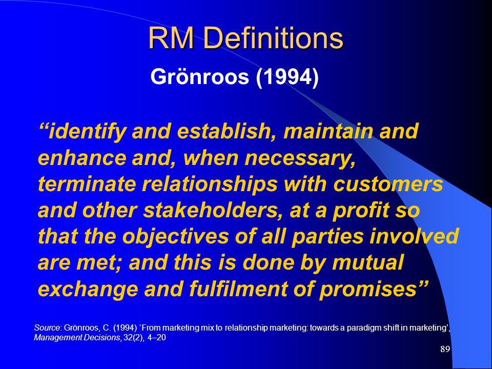 RM Definitions Grönroos (1994)