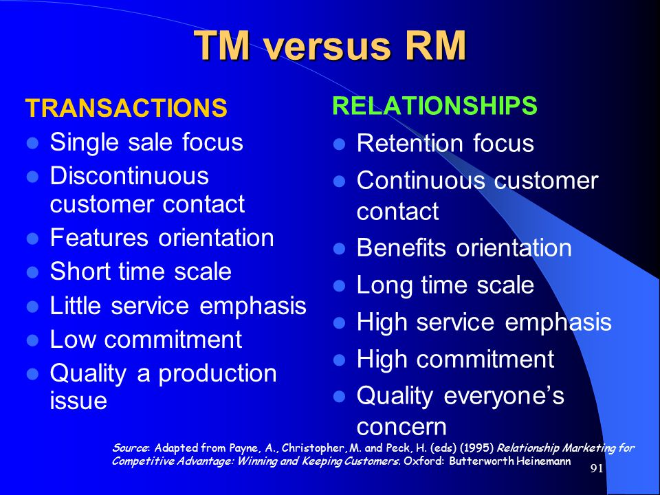TM versus RM RELATIONSHIPS TRANSACTIONS Retention focus