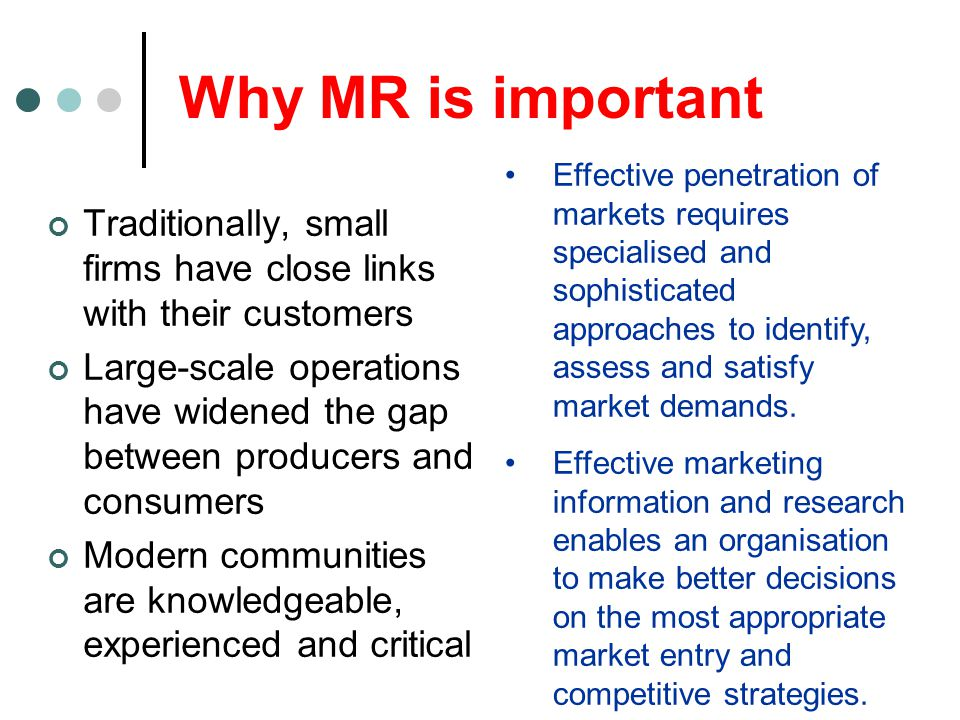 Why MR is important