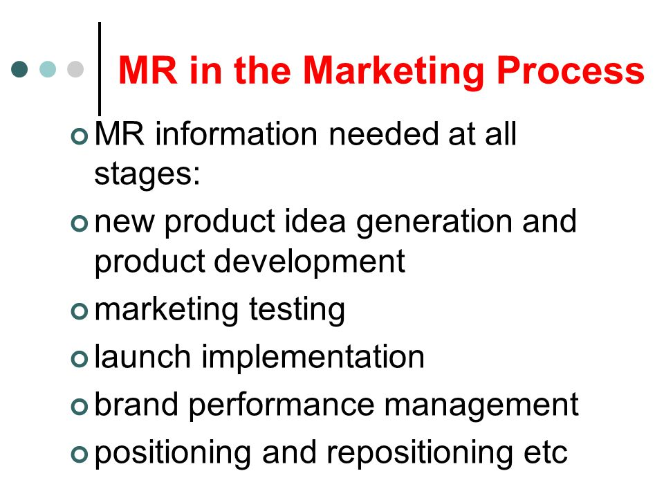 MR in the Marketing Process