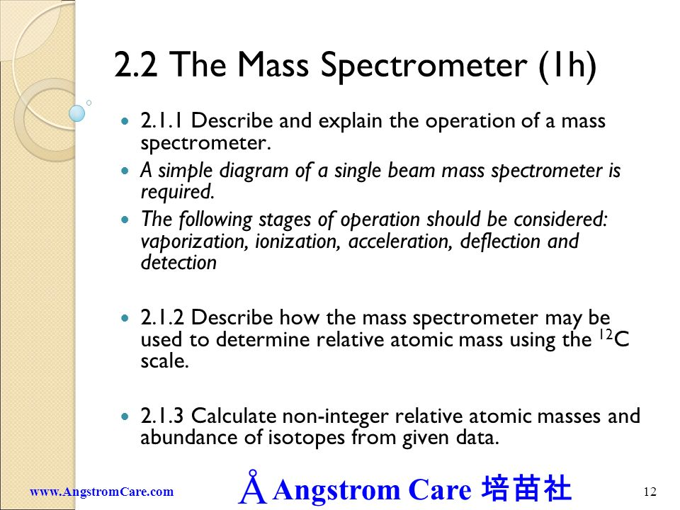 2.2 The Mass Spectrometer (1h)