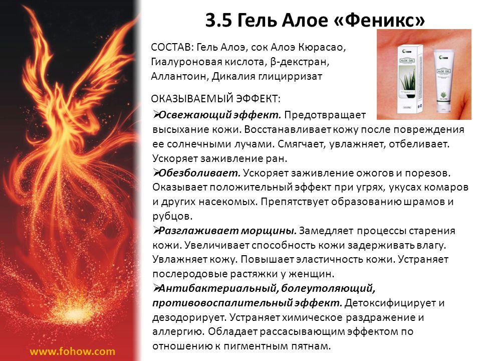 3.5 Гель Алое «Феникс» СОСТАВ: Гель Алоэ, сок Алоэ Кюрасао,