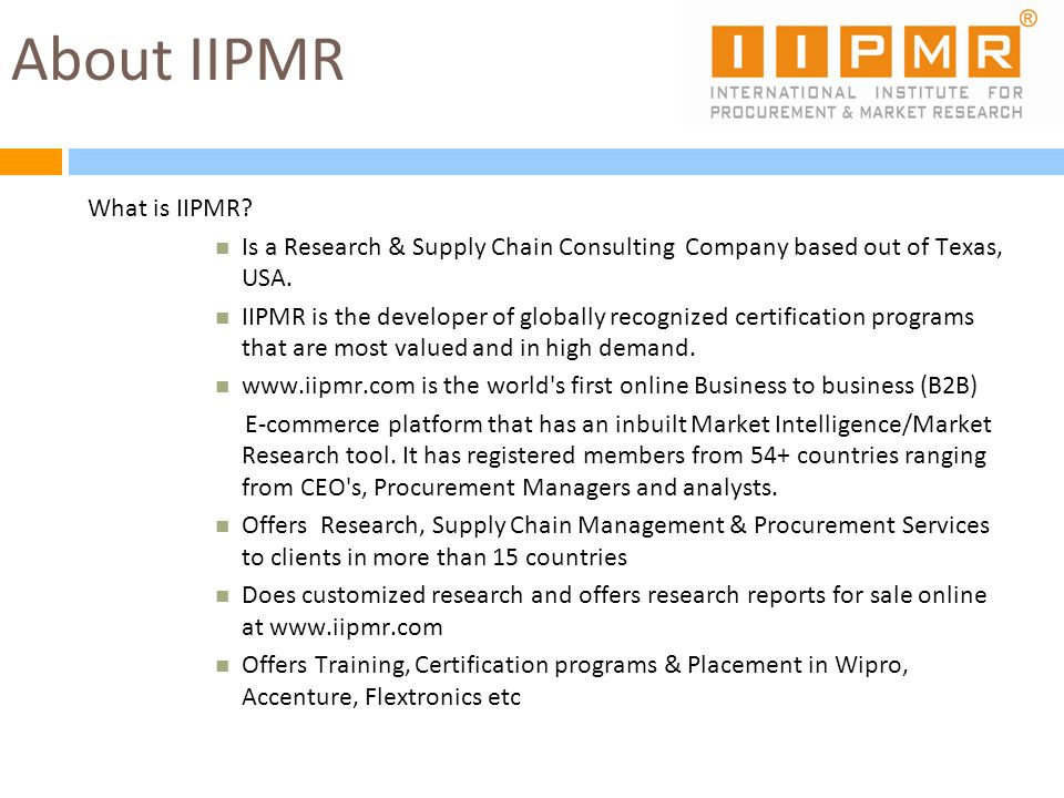 About IIPMR What is IIPMR