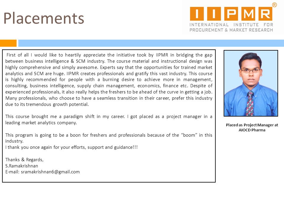 Placed as Project Manager at AIOCD Pharma