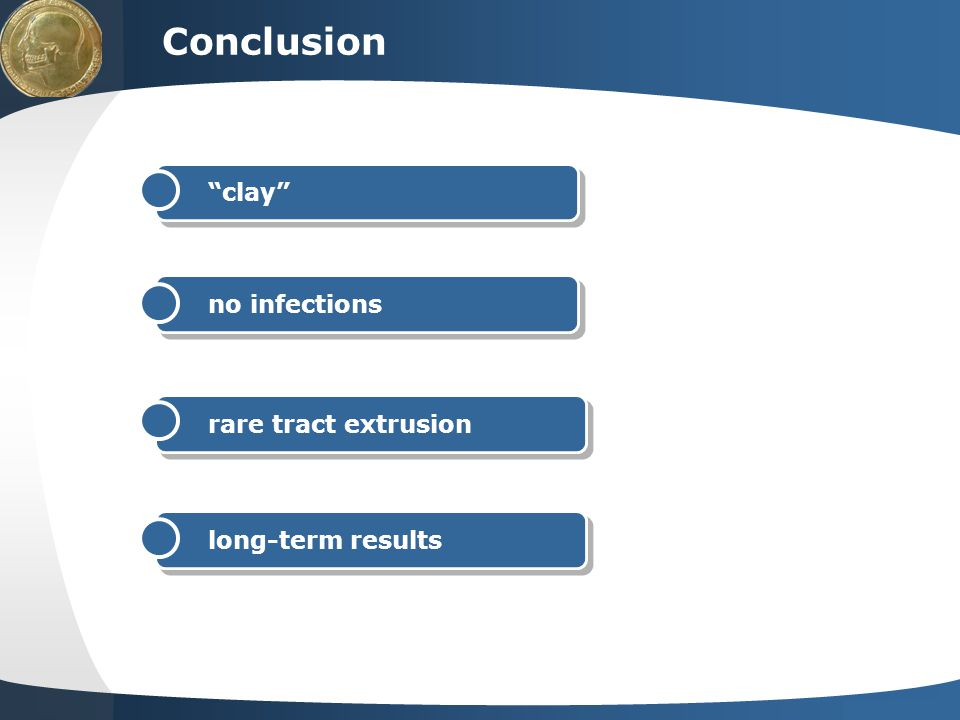 Conclusion clay no infections rare tract extrusion long-term results