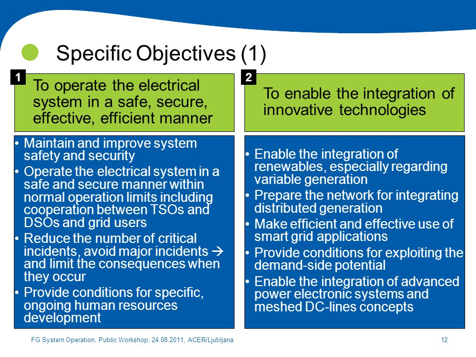 Specific Objectives (1)