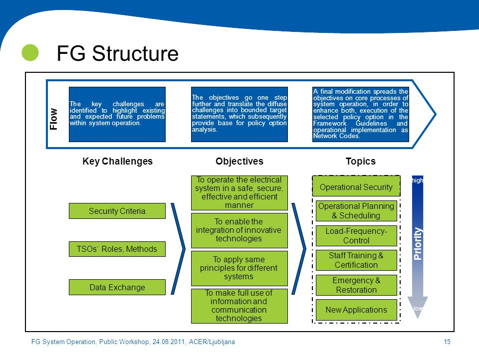 FG Structure Flow Key Challenges Objectives Topics Priority