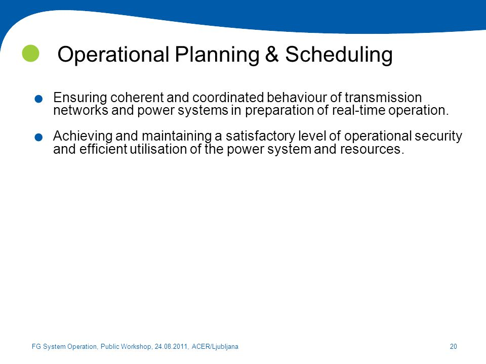 Operational Planning & Scheduling
