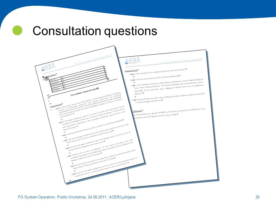 Consultation questions
