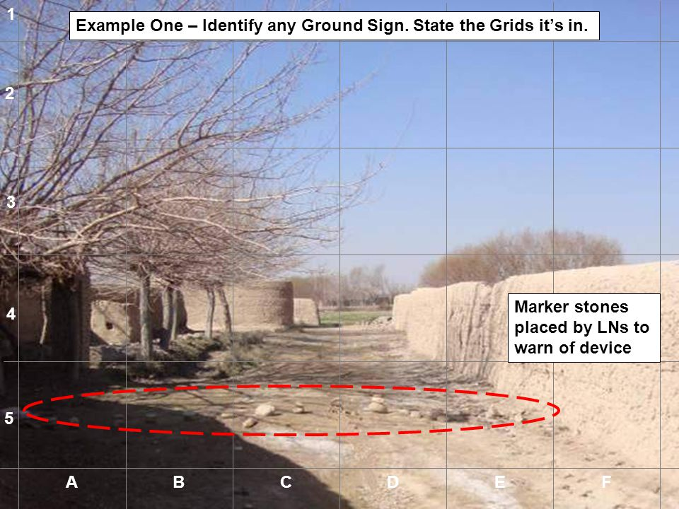 1 Example One – Identify any Ground Sign. State the Grids it's in. 2. 3. Marker stones placed by LNs to warn of device.