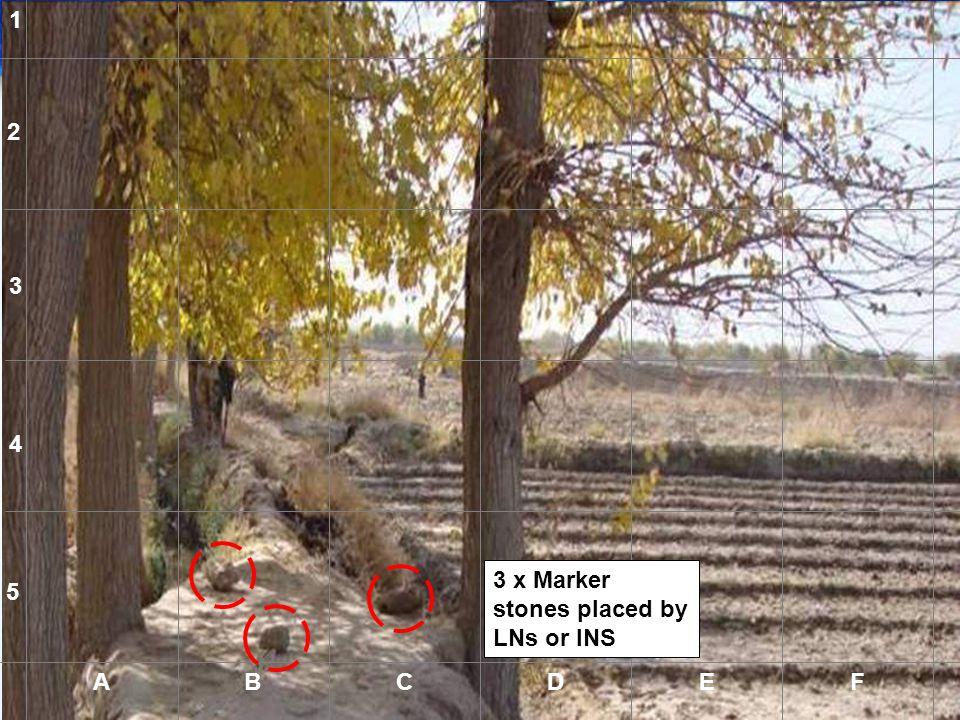 1 2 3 4 3 x Marker stones placed by LNs or INS 5 A B C D E F A