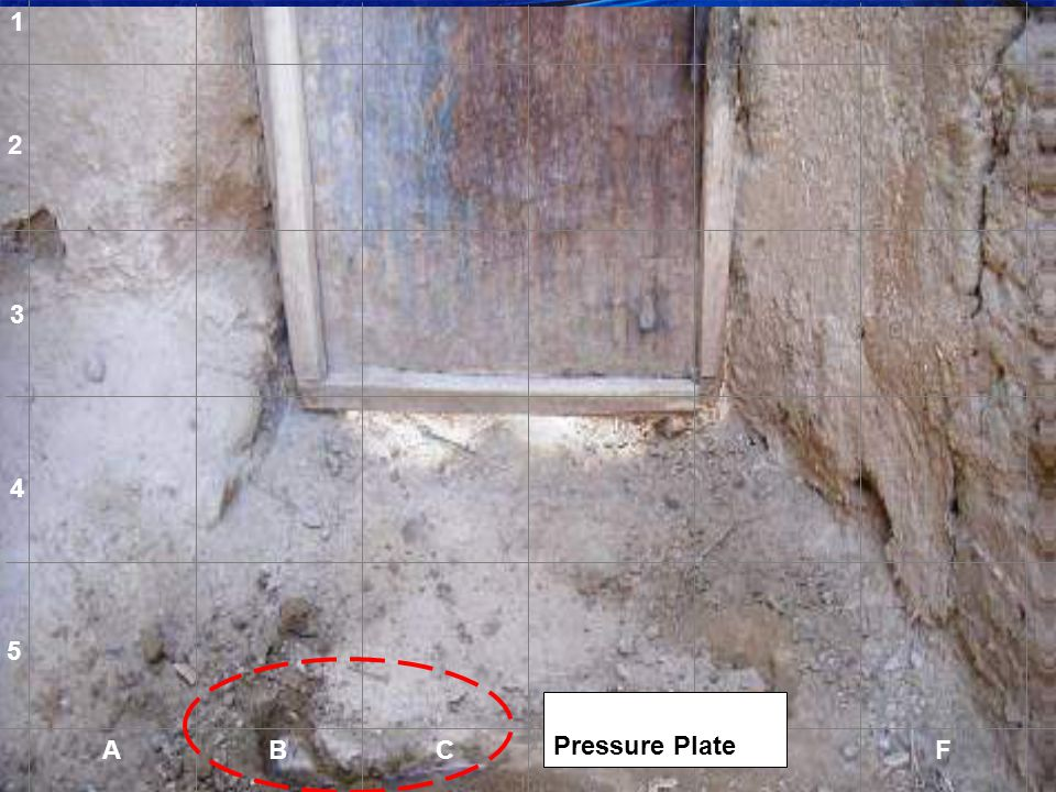 1 2 3 4 5 Partly uncovered Pressure Plate. A B C D E F A
