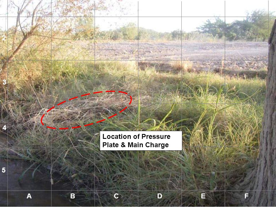 1 2 3 4 Location of Pressure Plate & Main Charge 5 A B C D E F A