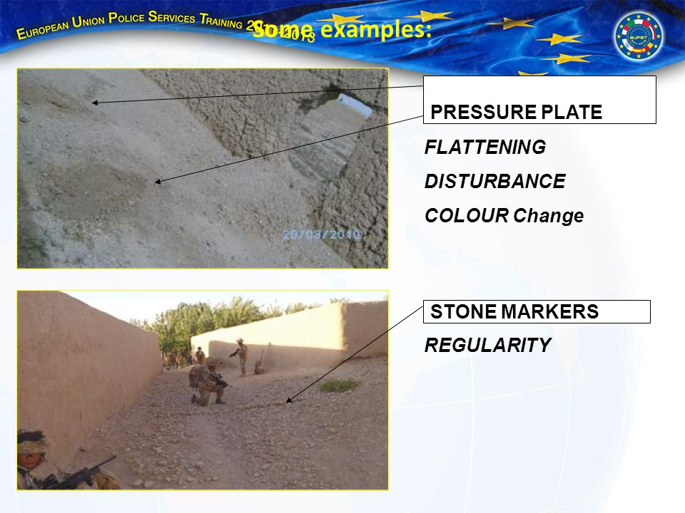 Some examples: PRESSURE PLATE FLATTENING DISTURBANCE COLOUR Change