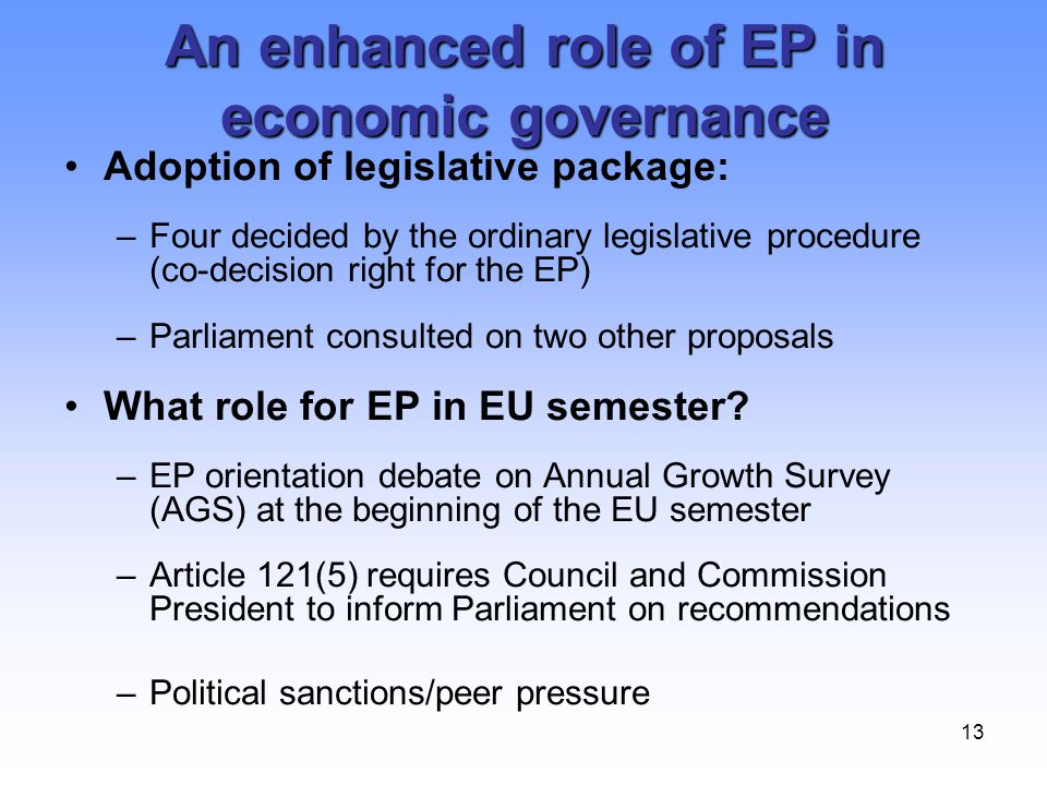 An enhanced role of EP in economic governance