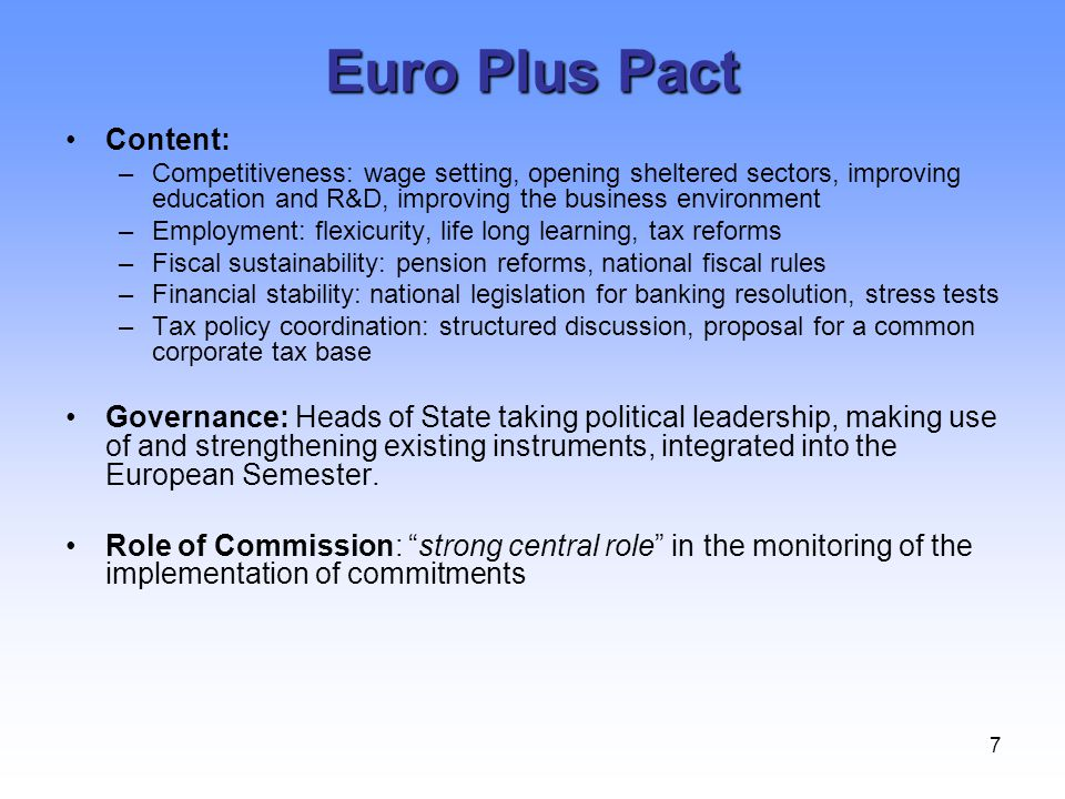 Euro Plus Pact Content: