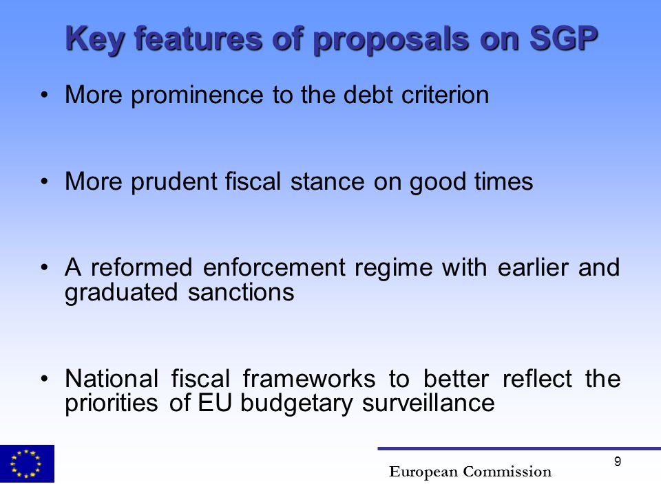 Key features of proposals on SGP