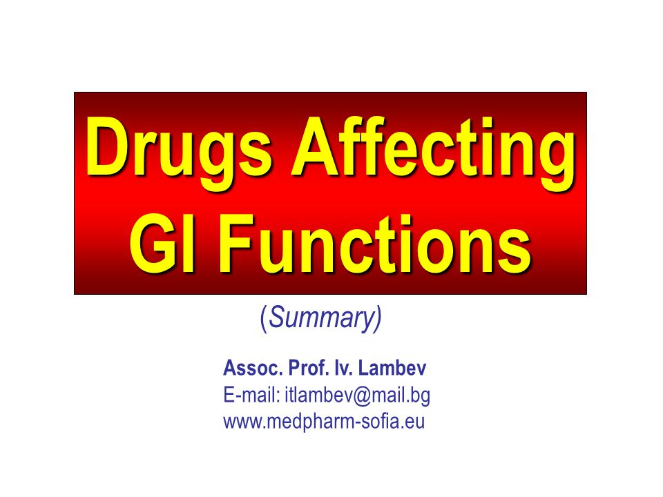 Drugs Affecting GI Functions