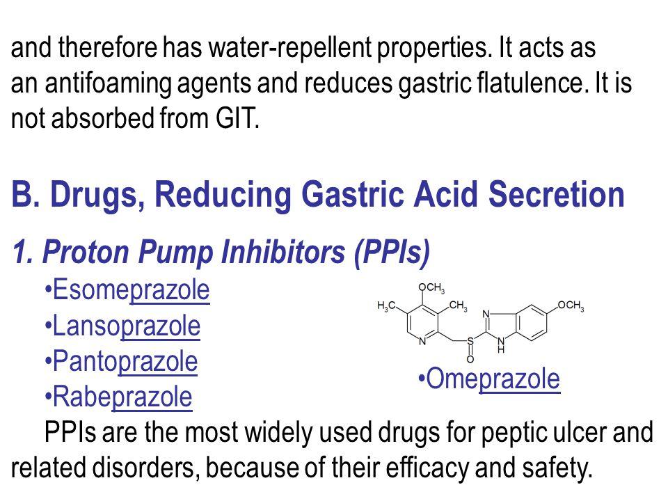 B. Drugs, Reducing Gastric Acid Secretion