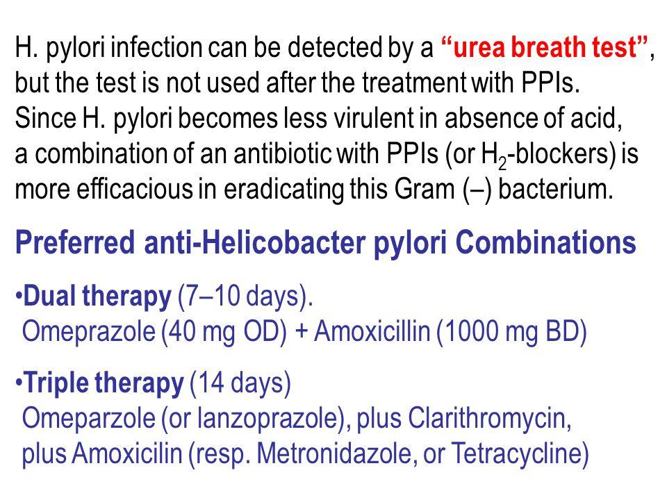 Preferred anti-Helicobacter pylori Combinations