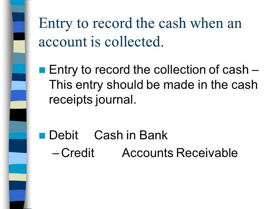 Entry to record the cash when an account is collected.