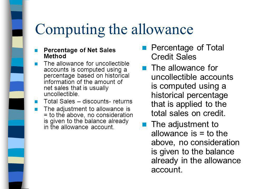 Computing the allowance