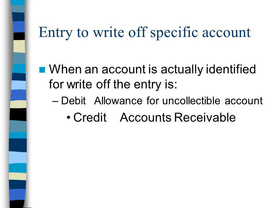 Entry to write off specific account