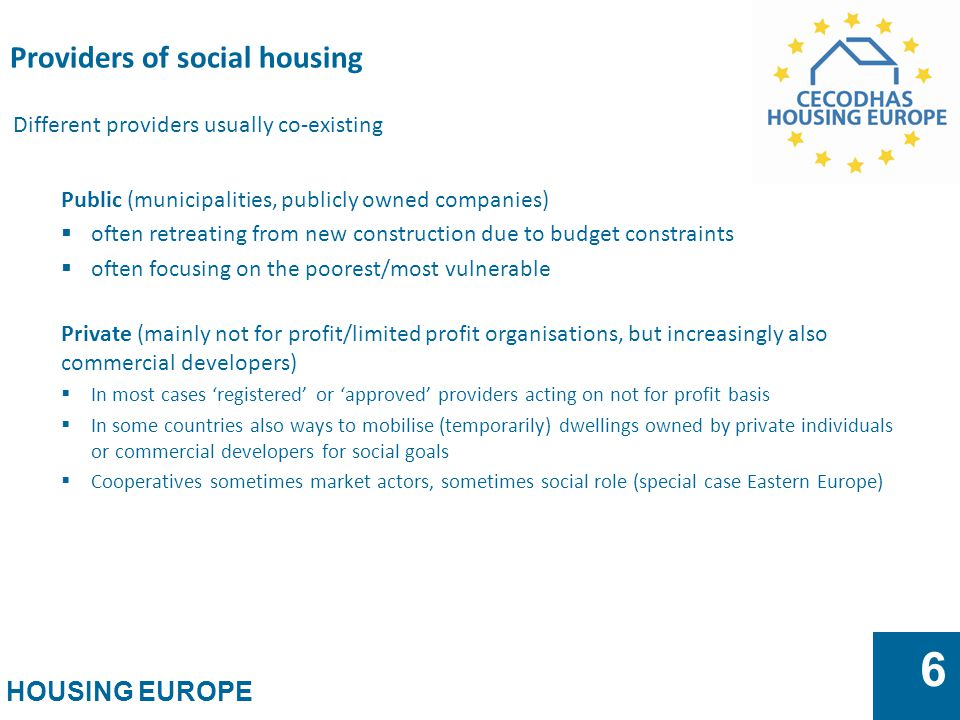 Providers of social housing
