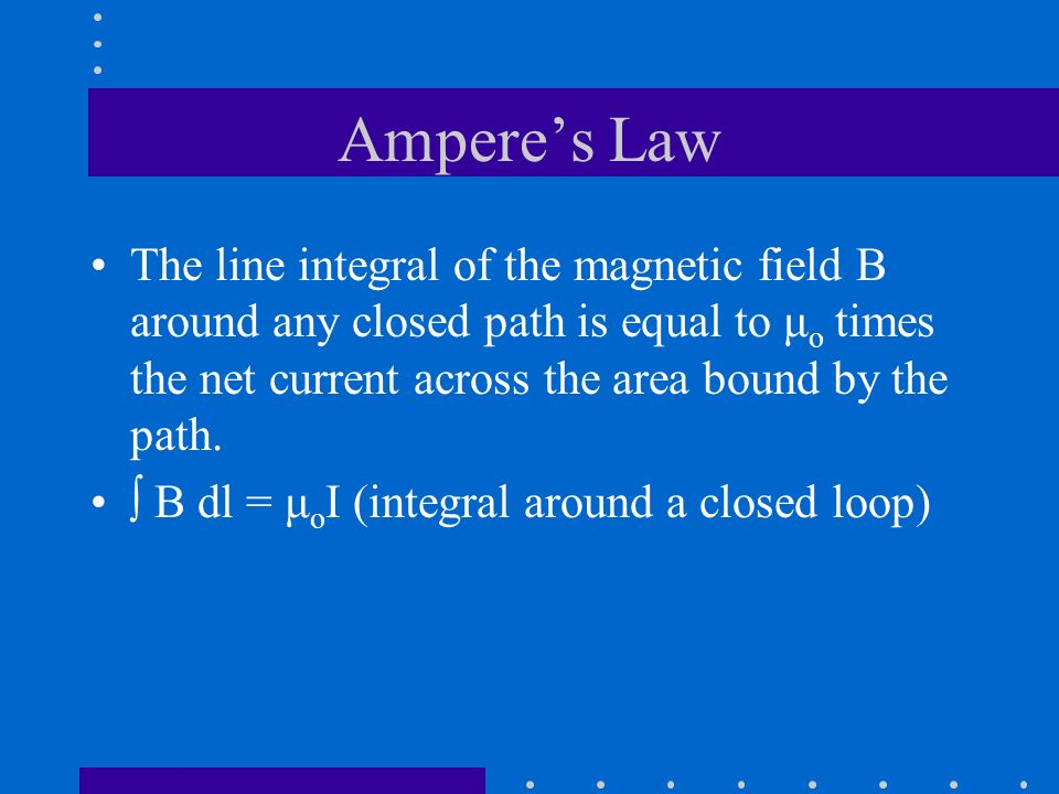 Ampere's Law The line integral of the magnetic field B around any closed path is equal to μo times the net current across the area bound by the path.
