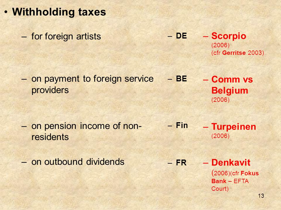 Withholding taxes for foreign artists