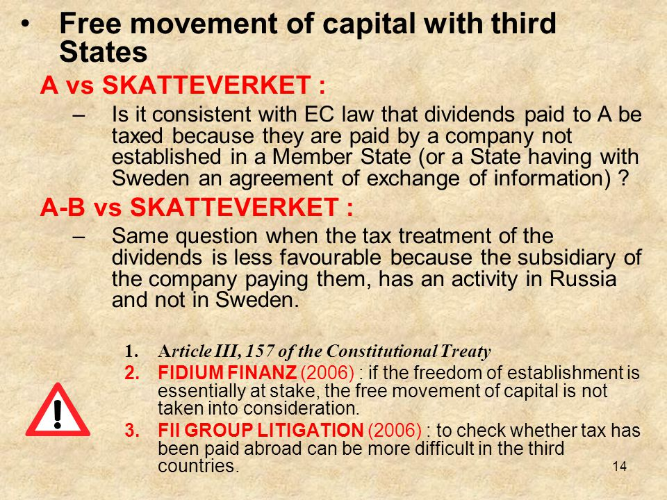Free movement of capital with third States