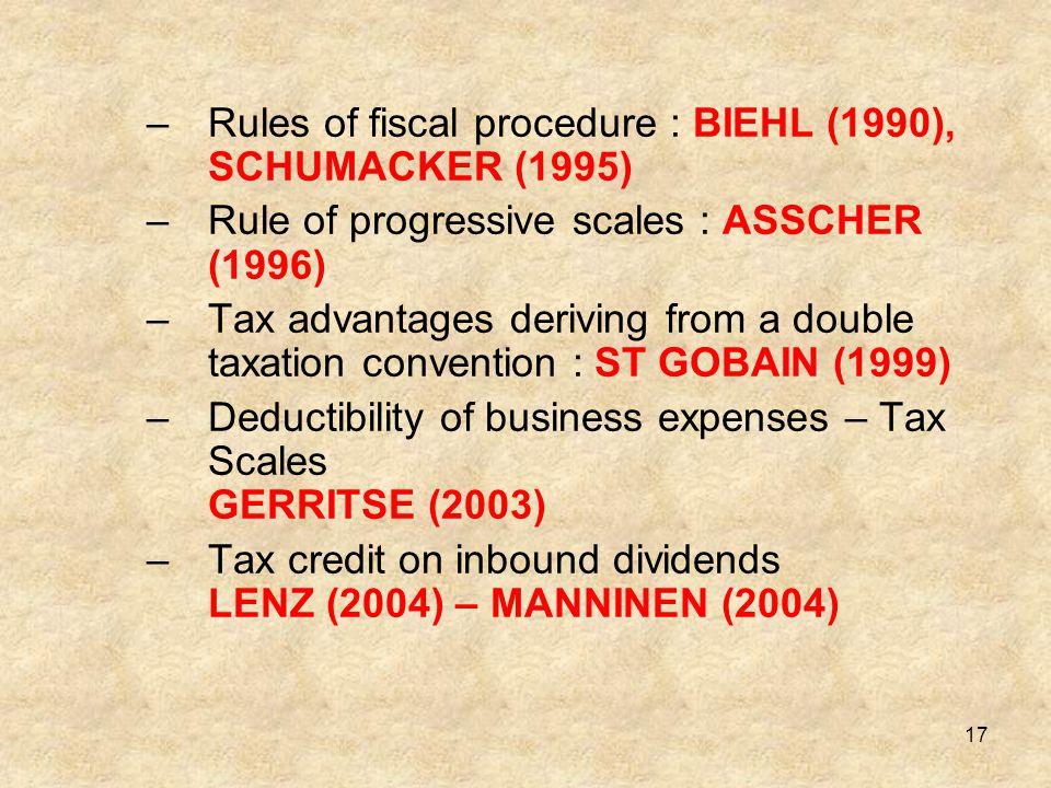 Rules of fiscal procedure : BIEHL (1990), SCHUMACKER (1995)