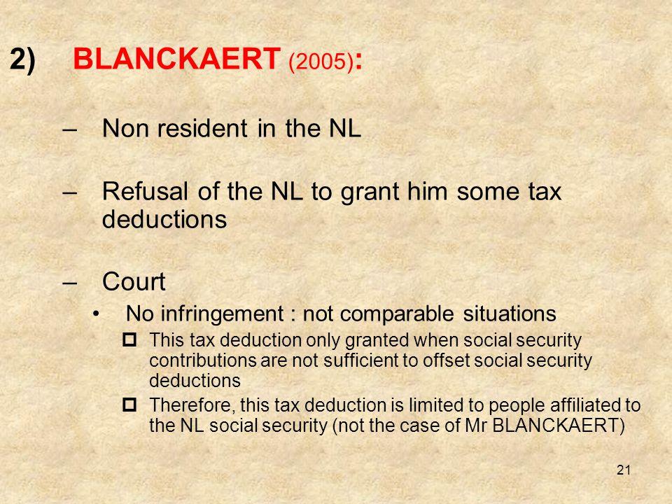 BLANCKAERT (2005): Non resident in the NL