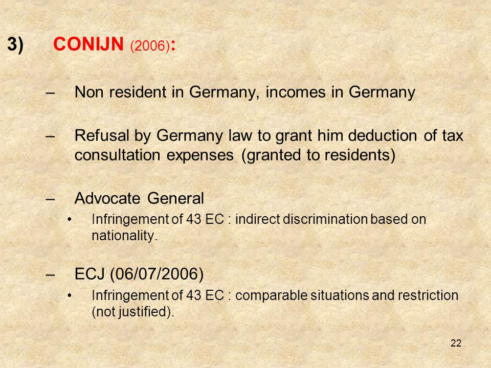 CONIJN (2006): Non resident in Germany, incomes in Germany
