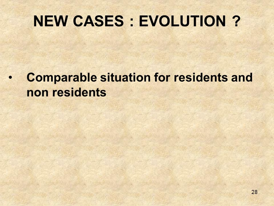 NEW CASES : EVOLUTION Comparable situation for residents and non residents
