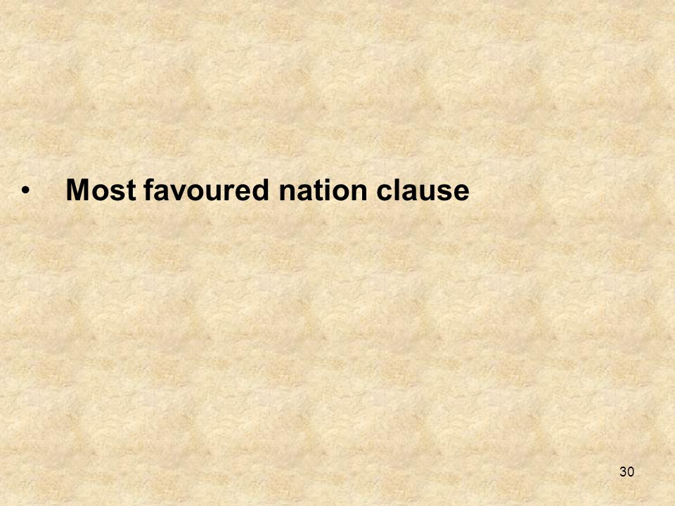Most favoured nation clause