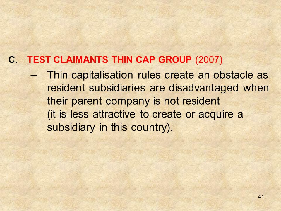 TEST CLAIMANTS THIN CAP GROUP (2007)